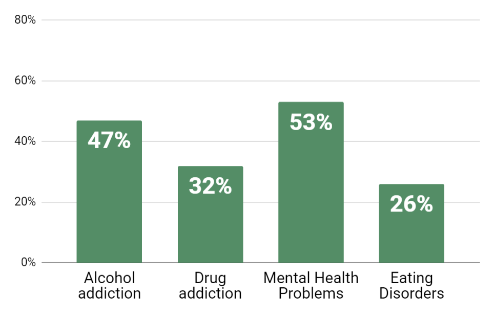 The most common addictions among Female Celebrities In Recovery